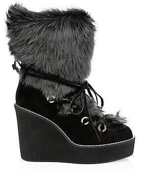 62c041dc1d4 Stuart Weitzman Women s Nikita Fur-Trim Suede Platform Boots