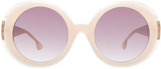 Alice + Olivia Mulholland Glittered Round Sunglasses