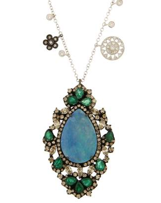 Meira T Women's Opal Diamond & Emerald Necklace