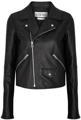 Loewe Black Leather Biker Jacket