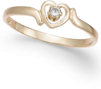 Macy's Children's Diamond Accent Heart Ring in 14k Gold