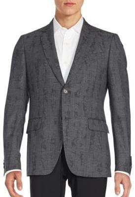 John Varvatos Regular-Fit Austin Printed Plaid Virgin Wool Sportcoat