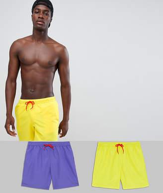 Asos Design DESIGN swim shorts in retro purple & yellow mid length 2 pack