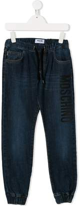 Moschino Kids TEEN drawstring waist denim trousers