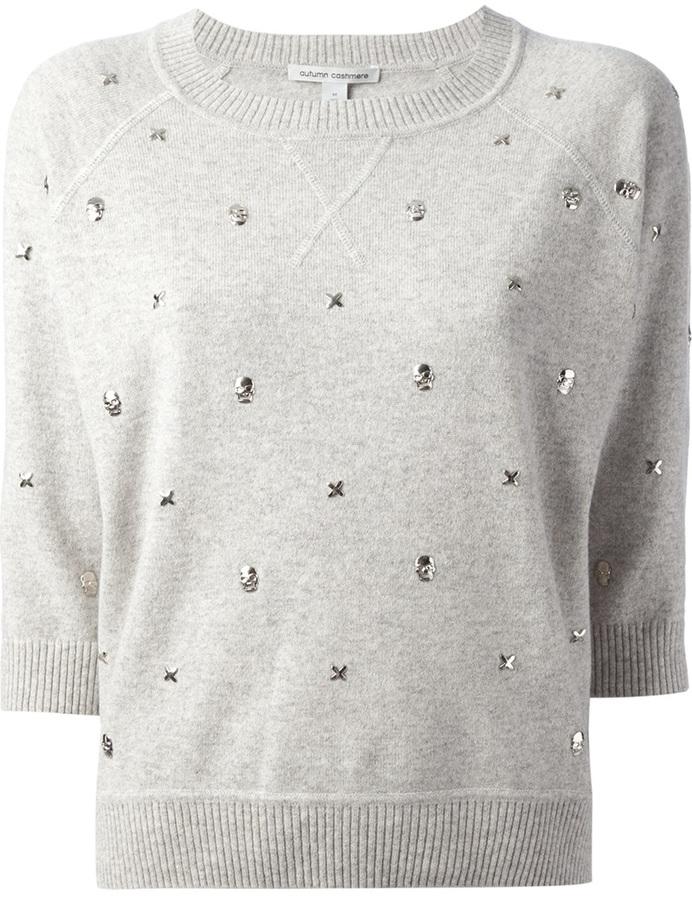 Autumn Cashmere skull & crosses embellished sweater