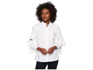 Ellen Tracy Poplin Shirt With Cut Out Sleeve Women's Clothing