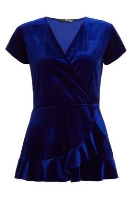 Quiz Royal Blue Velvet Wrap Frill Top