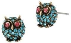 Betsey Johnson Delicates Pave Owl Stud Earrings