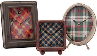 Imax Set Of 3 Riley Plaid Metal Clocks