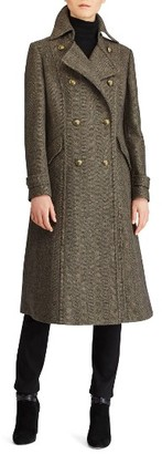Women's Lauren Ralph Lauren Herringbone Wool Blend Long Military Coat $360 thestylecure.com