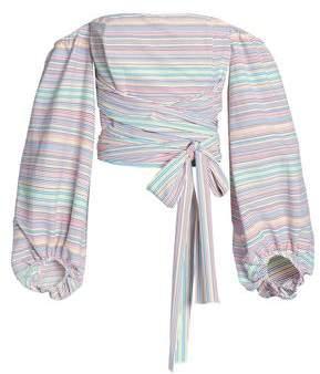 Nicholas Off-The-Shoulder Striped Cotton-Blend Top