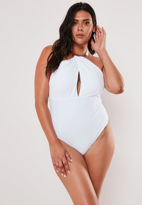 Missguided Plus Size White Halterneck Plunge Swimsuit