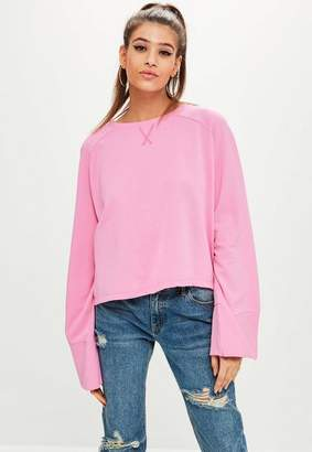 Missguided Pink Washed Wide Sleeve Sweatshirt