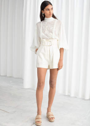 And other stories Cotton Linen Belted Shorts