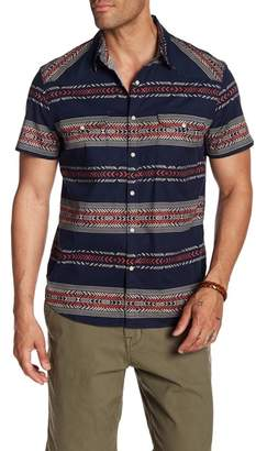 Lucky Brand Geo Striped Short Sleeve Regular Fit Shirt