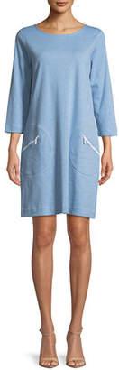 Joan Vass Circle-Pocket Cotton Shift Dress, Petite