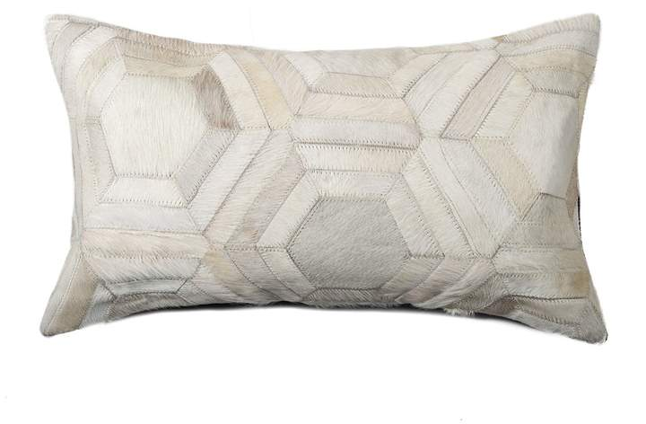 Torino Hexagon Genuine Cowhide Pillow - 12 x 20 - Off-White