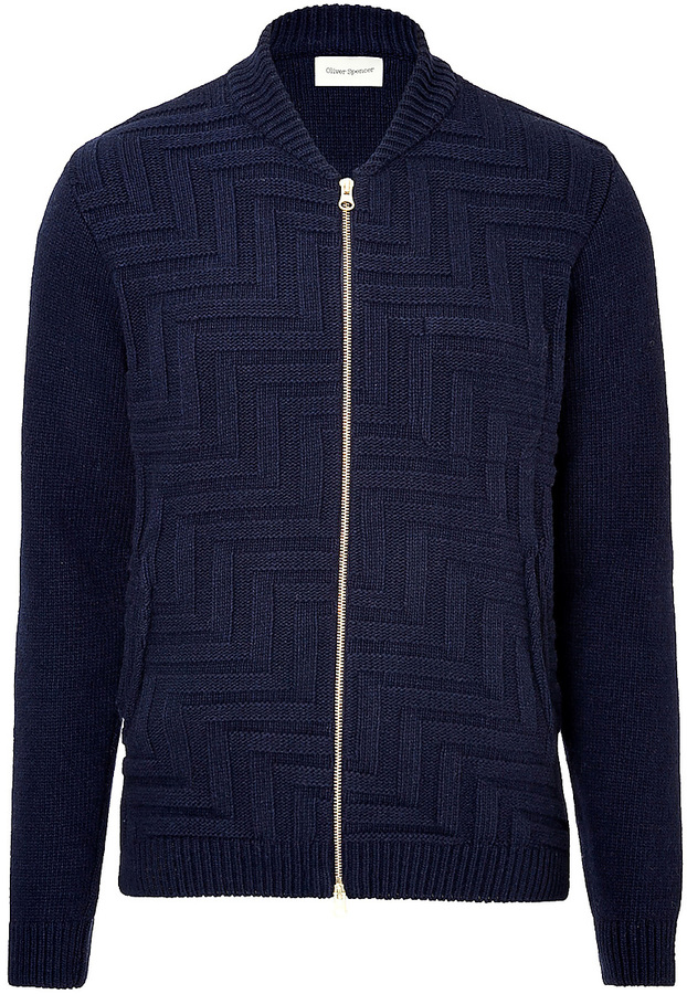 Oliver Spencer Wool Blend Zip Front Cardigan