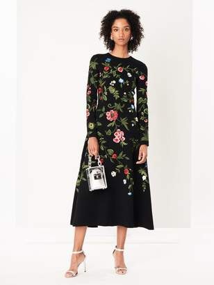 Oscar de la Renta Botanical Garden Embroidered Stretch-Wool Crepe Cocktail Dress