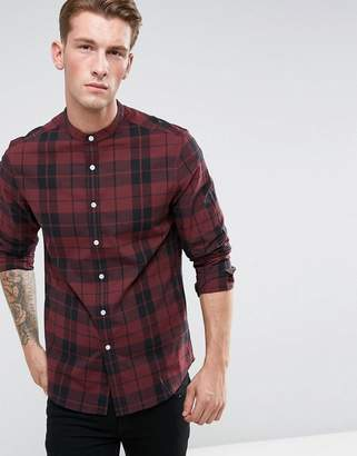 Asos Stretch Slim Check Shirt With Grandad Collar In Red