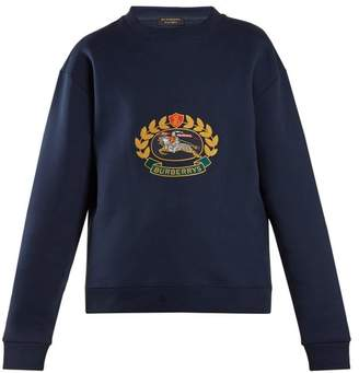Burberry Unisex Crest Embroidered Round Neck Sweatshirt - Womens - Blue