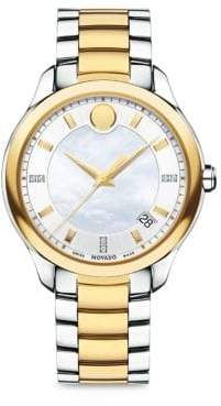 Movado Bellina Diamond, Mother-Of-Pearl & Two-Tone Stainless Steel Bracelet Watch