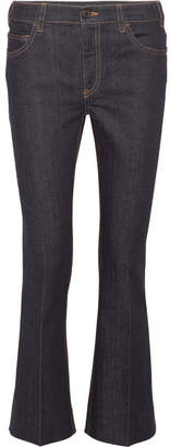 Prada Cropped High-rise Flared Jeans - Dark denim