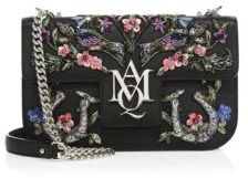 Alexander McQueen Alexander McQueen Insignia Floral-Embroidered Leather Chain Satchel