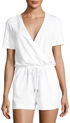 Athena Caley Jersey Drawstring Romper, White $79 thestylecure.com