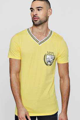 boohoo MAN Collegiate T-Shirt With Sports Rib