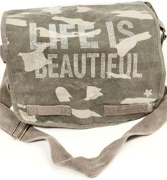 Couture hipchik Canvas Green Camo Crystal Studded Messenger Bag