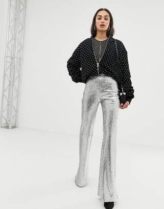 Bershka sequin pants in silver