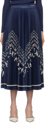 Valentino Blue Chevron Pleated Skirt