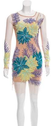 For Love & Lemons Bodycon Floral Embroidered Dress