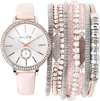Jessica Carlyle ST2399RG695 Stackable Silver-Tone Watch & Bracelet Set