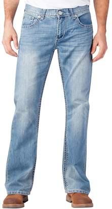 Seven7 Men's Thick-Stitch Bootcut Jeans