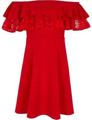 River Island Girls red double ruffle lace bardot dress