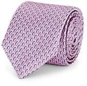 Barneys New York Men's Chain-Link-Pattern Silk Satin Necktie - Pink