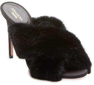 Aquazzura Purr Mink-Fur 105mm Mule Sandal