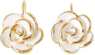 POPORCELAIN - Golden White Cloud Rose Hook Earrings