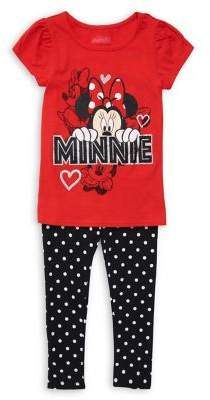 Nannette Little Girl's Two-Piece Minnie Mouse Puff-Sleeve Tee & Dotted Leggings Set