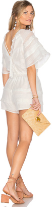 J.O.A. Sheer Woven Short Romper $90 thestylecure.com