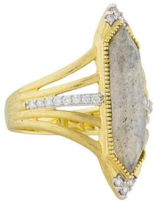 Jude Frances 18K Diamond & Labradorite Lisse Ring