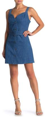 Wild Honey Sweetheart Belted Denim Dress