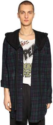 Faith Connexion Oversize Hooded Check Wool Tweed Shirt
