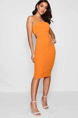 boohoo Monica Square Neck Cut Out Side Midi Dress