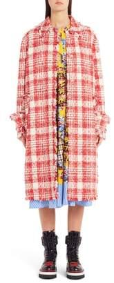 MSGM Fray Edge Tweed Coat