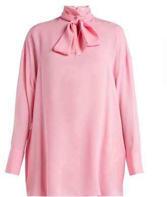 Valentino Pussy Bow Silk Crepe Blouse - Womens - Pink