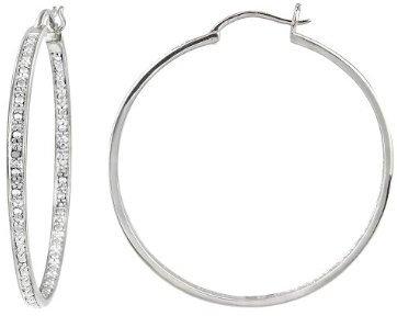 Sterling Silver Large Diamond Accent Hoop Earrings