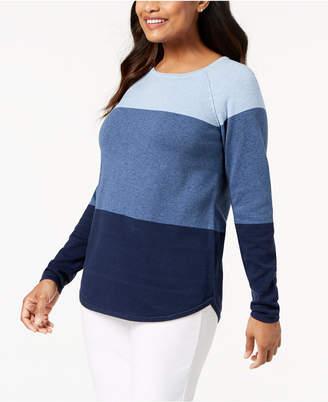 Karen Scott Petite Colorblocked Cotton Sweater, Created for Macy's